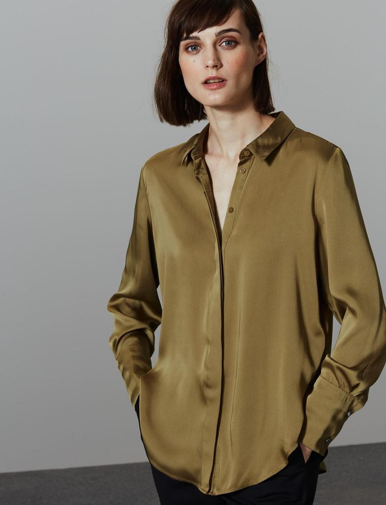 Yeşil Satin Uzun Kollu Gömlek