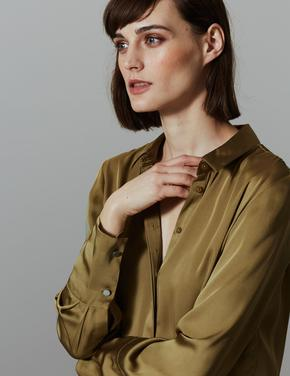 Satin Uzun Kollu Gömlek