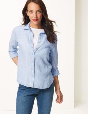 Mavi Saf Keten Çizgili Uzun Kollu Gömlek
