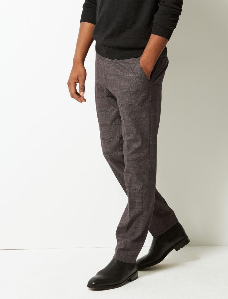 Skinny Fit Ekose Pantolon