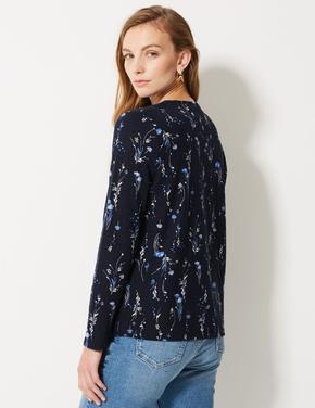 Çiçek Desenli Yuvarlak Yaka Uzun Kollu Bluz