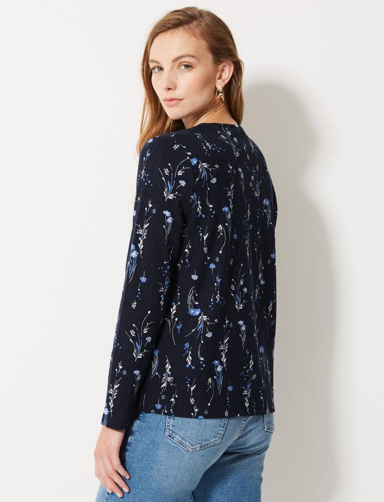 Lacivert Çiçek Desenli Yuvarlak Yaka Uzun Kollu Bluz