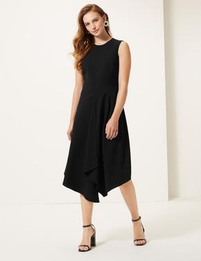 Kolsuz Asimetrik Kesim Midi Elbise