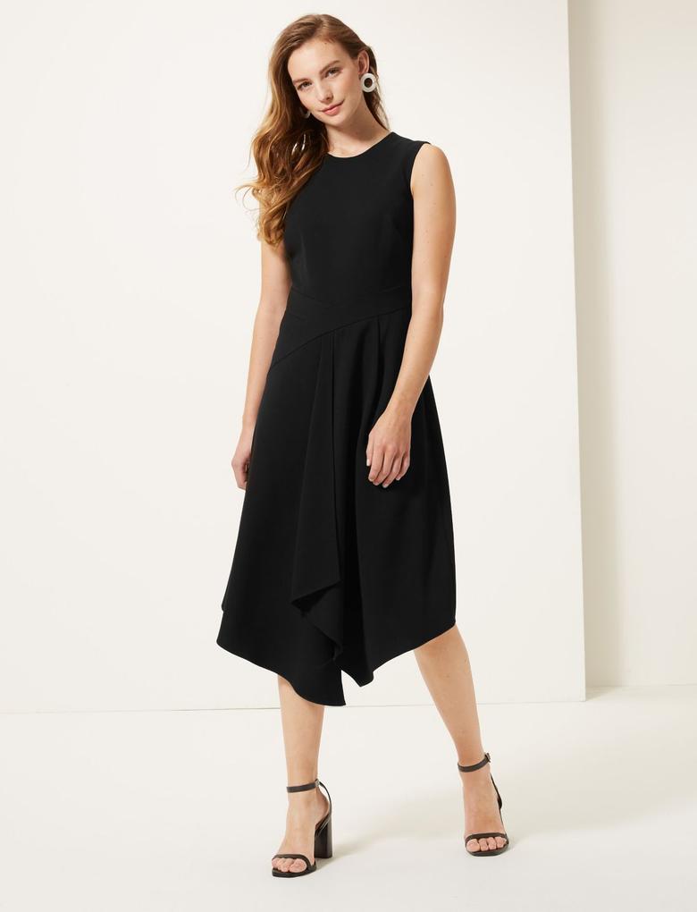 Kadın Siyah Kolsuz Asimetrik Kesim Midi Elbise