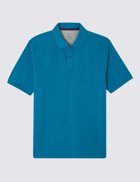 Saf Pamuklu Pique Polo Yaka T-Shirt