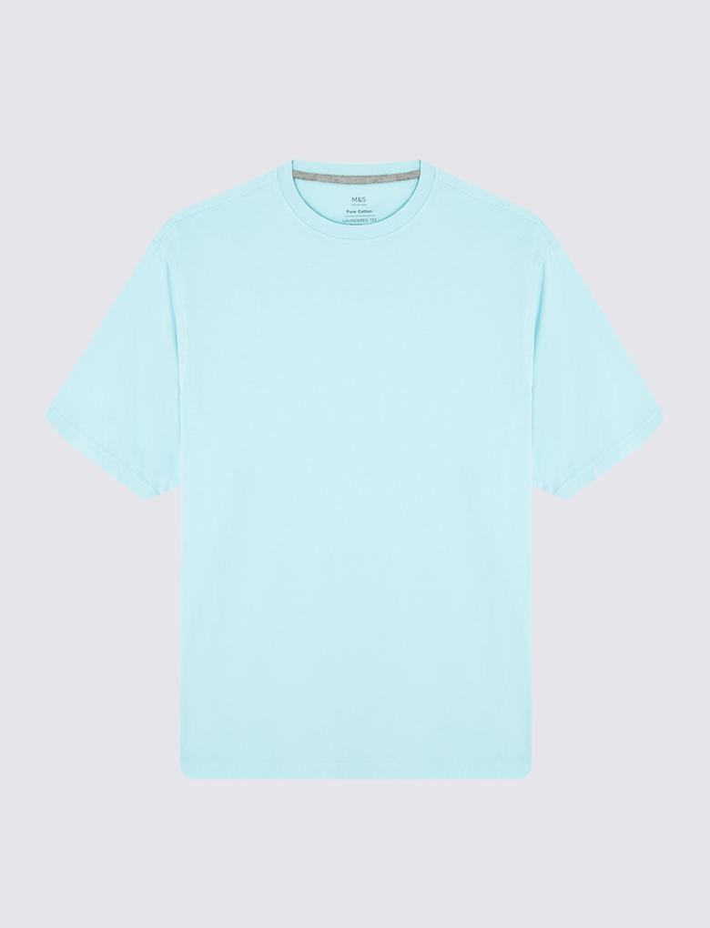 Mavi Saf Pamuklu T-Shirt (Cool Comfort™  Teknolojisi ile)