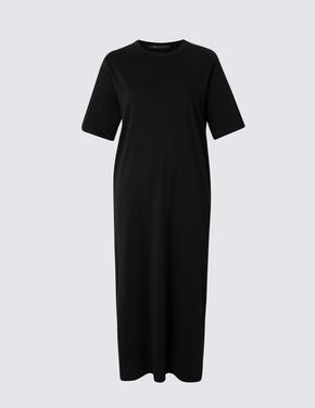 Saf Pamuklu Kısa Kollu Maxi Elbise