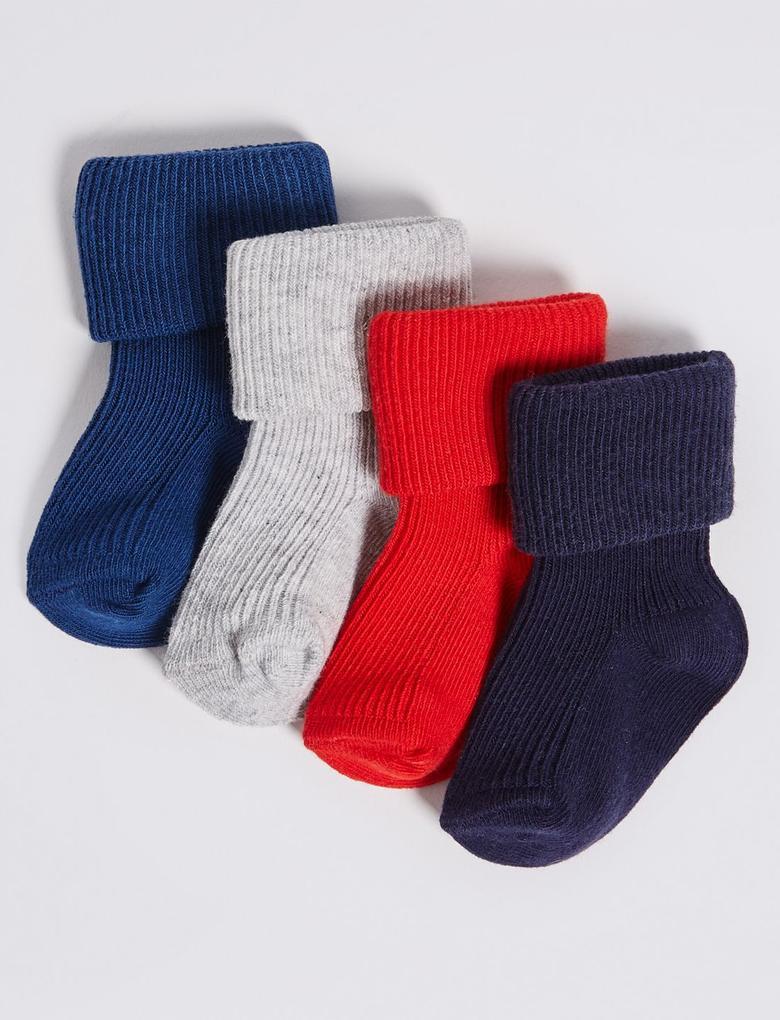 4'lü Pamuklu Bebek Çorabı Seti
