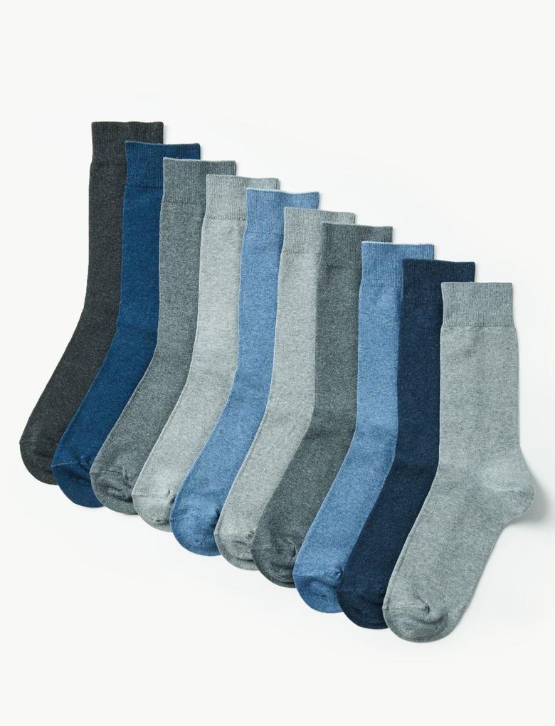Gri 10'lu Cool & Freshfeet™ Pamuklu Çorap
