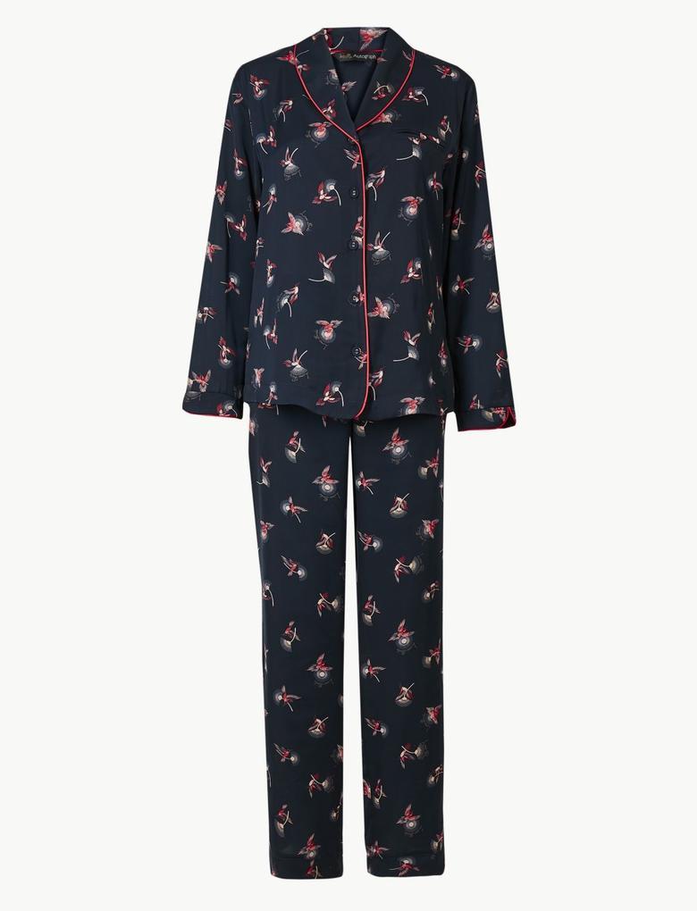 Lacivert Desenli Pijama Takımı