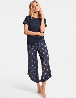 Kısa Kollu Saten Pijama Üstü