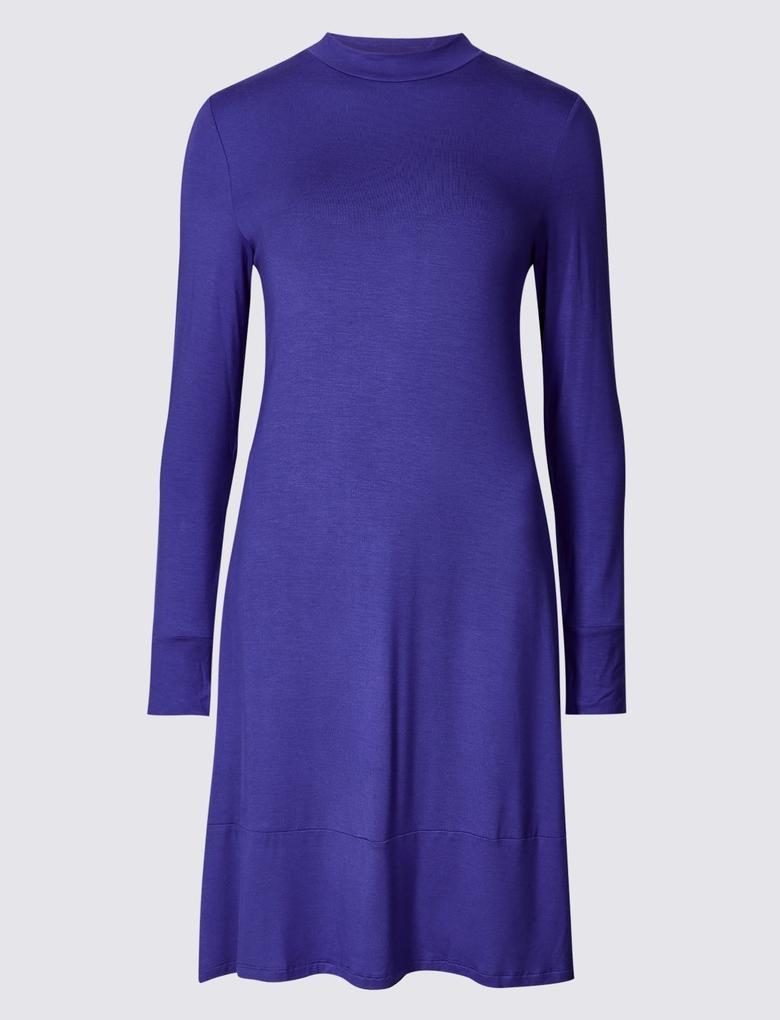 Kadın Mor Uzun Kollu Jarse Elbise