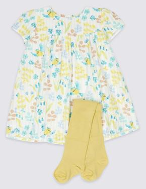 2 Parça Çiçek Desenli Elbise ve Külotlu Çorap Takımı