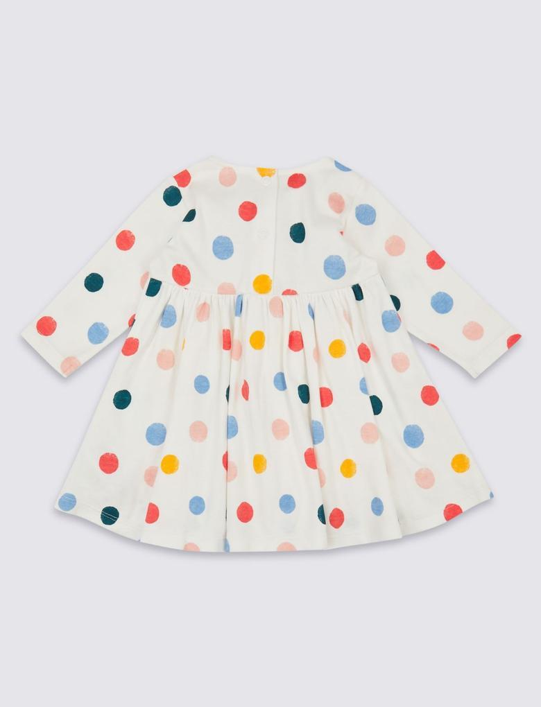 Saf Pamuklu Renkli Puantiyeli Elbise