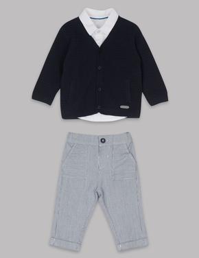 3 Parça Hırka, Gömlek ve Pantolon Takımı