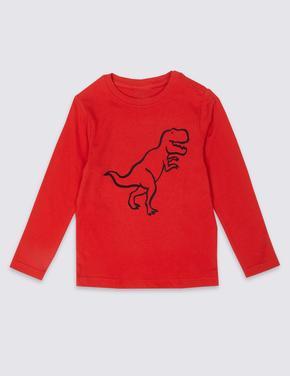 Kolay Giyilebilen Dinozor Desenli T-Shirt