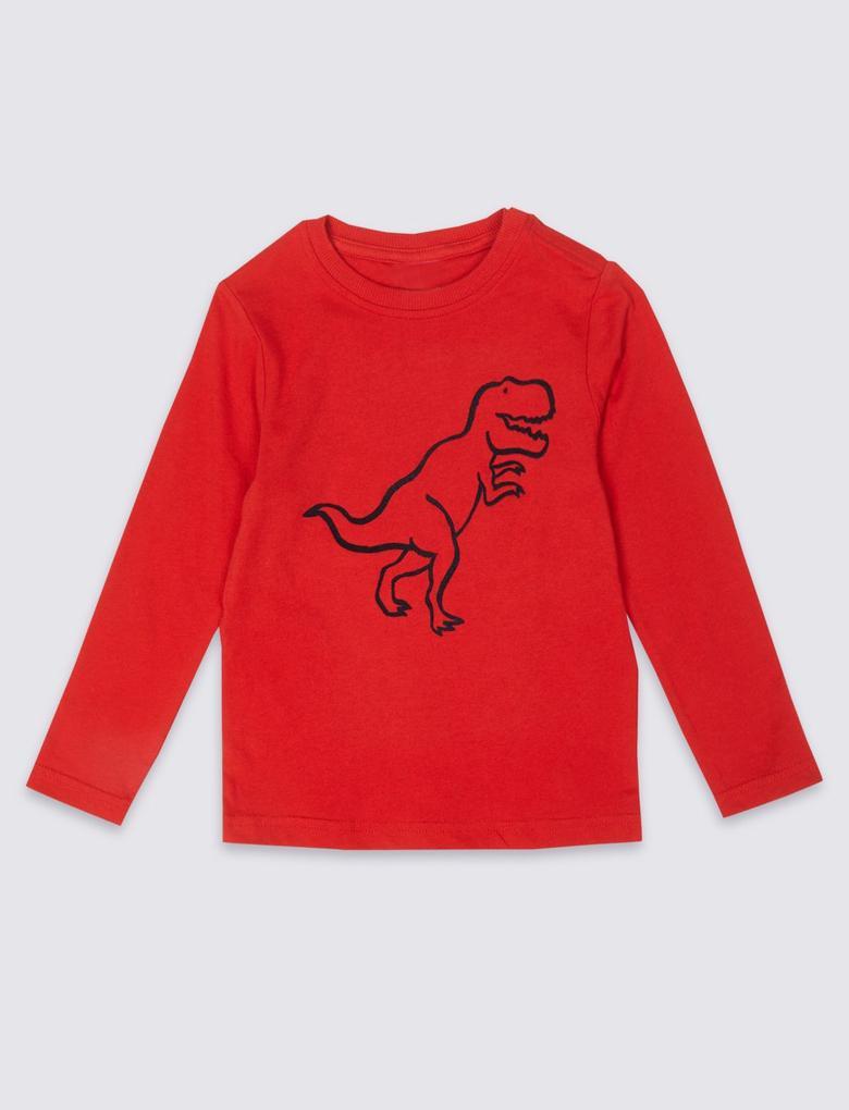 Mavi Kolay Giyilebilen Dinozor Desenli T-Shirt