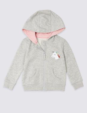 Gri Unicorn Kapüşonlu Sweatshirt