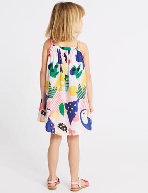 Pamuklu Tukan Kuşu Desenli Elbise