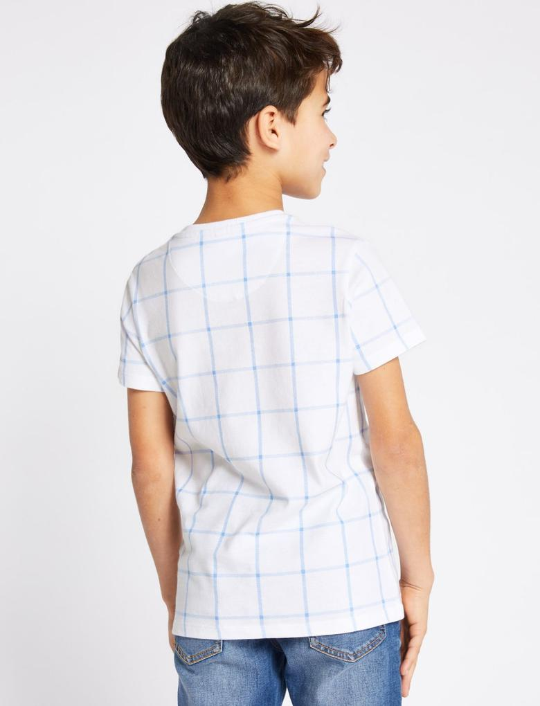 Erkek Çocuk Mavi Saf Pamuklu Grid T-Shirt