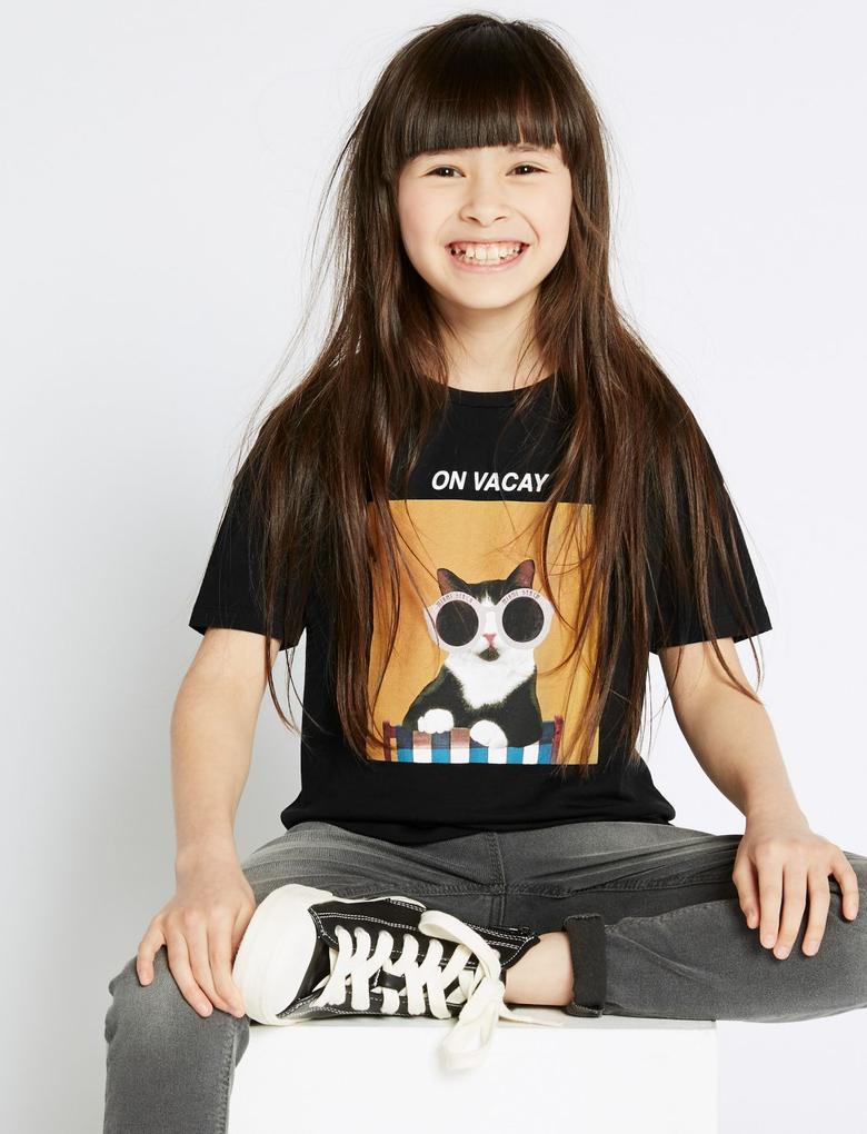 Kız Çocuk Siyah Saf Pamuklu On Vacay T-Shirt