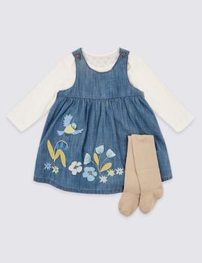 3 Parça Elbise, Body ve Külotlu Çorap Takımı