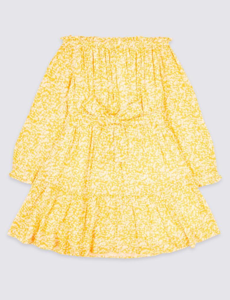 Bej Düşük Omuzlu Elbise