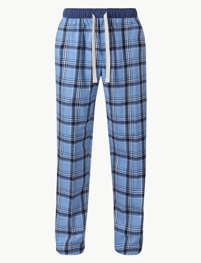 Mavi Saf Pamuklu Ekose Pijama Altı