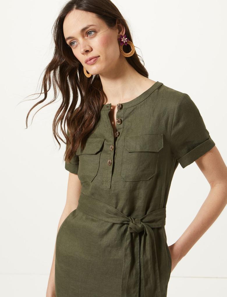 Yeşil Saf Keten Mini Elbise