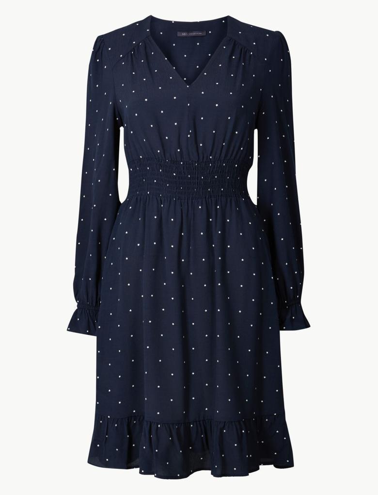 Lacivert Desenli Uzun Kollu Elbise