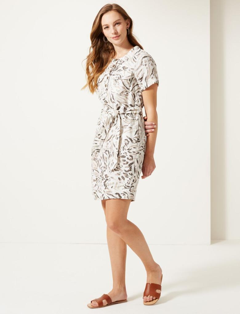 Kadın Krem Saf Keten Desenli Mini Elbise
