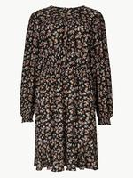 Çiçek Desenli Uzun Kollu Mini Elbise