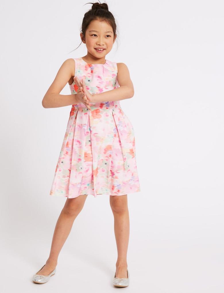 Kız Çocuk Pembe Saf Pamuklu Çiçek Desenli Elbise