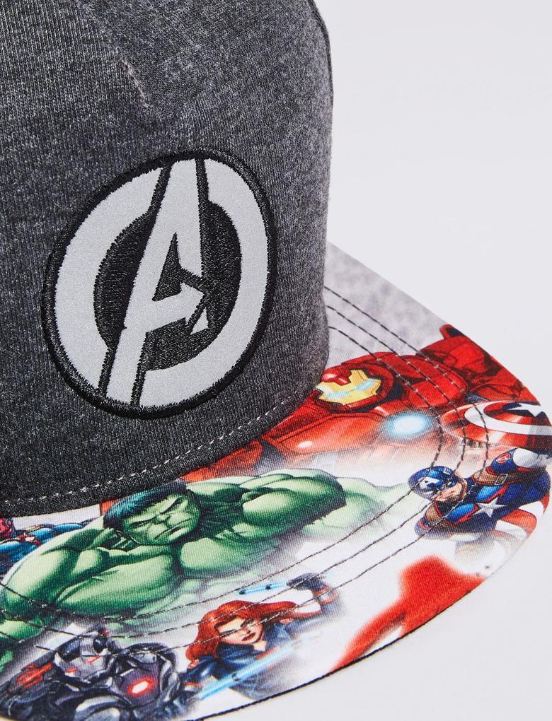 Erkek Çocuk Siyah Avengers Desenli Şapka