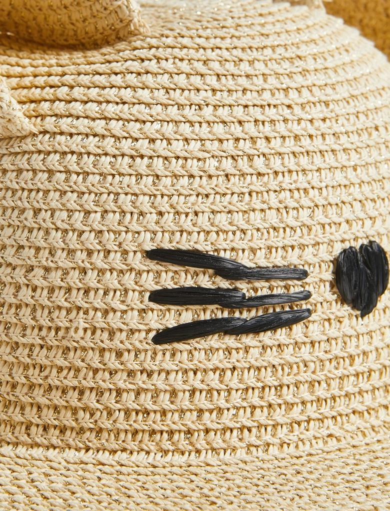 Kız Çocuk Kahverengi UPF50+ Korumalı Hasır Şapka