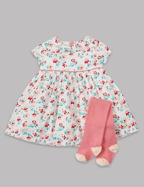 2 Parça Çiçekli Elbise ve Külotlu Çorap Takımı