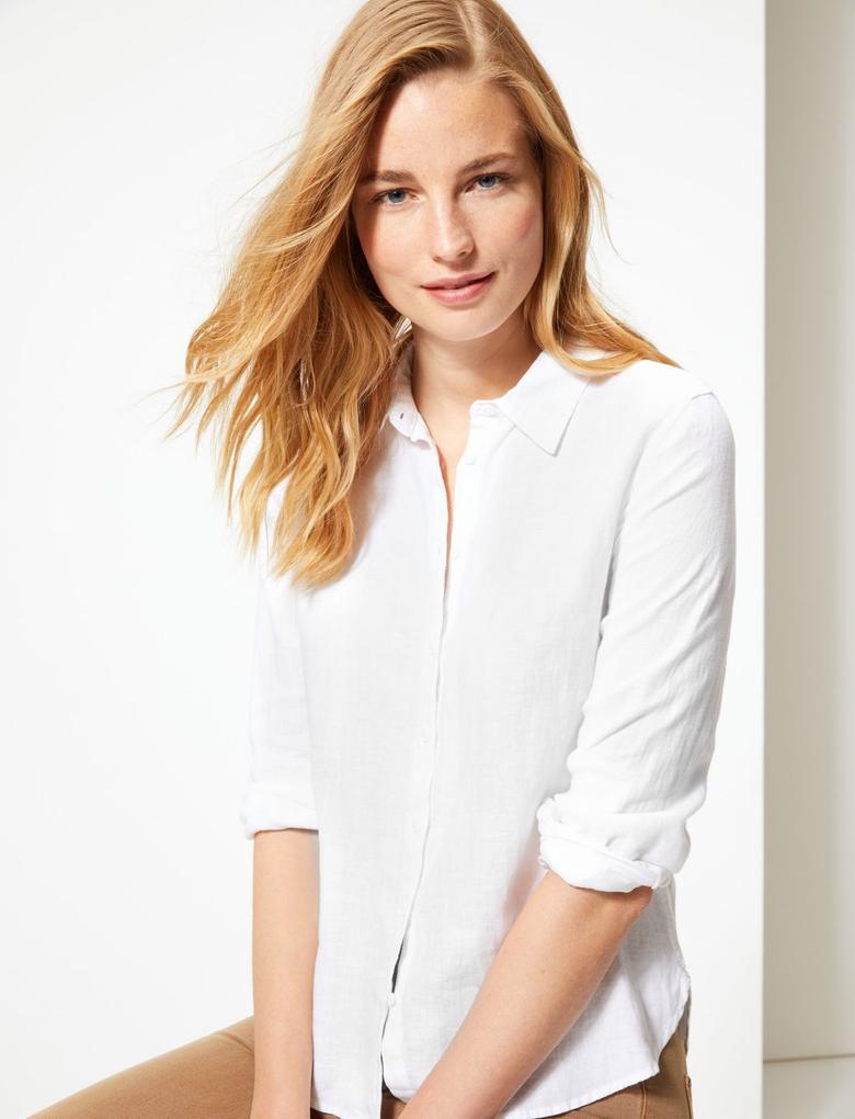 Saf Keten Uzun Kollu Gömlek
