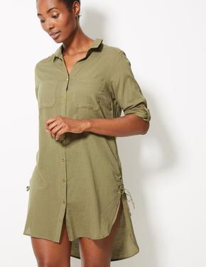 Saf Pamuklu Uzun Kollu Plaj Elbisesi