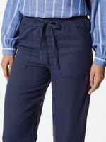 Kadın Lacivert Keten Karışımlı Wide Leg Dökümlü Pantolon