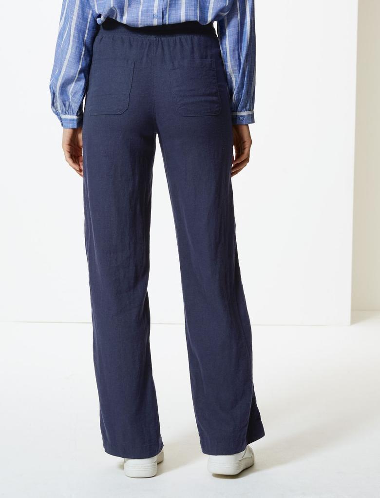 Lacivert Keten Karışımlı Wide Leg Dökümlü Pantolon