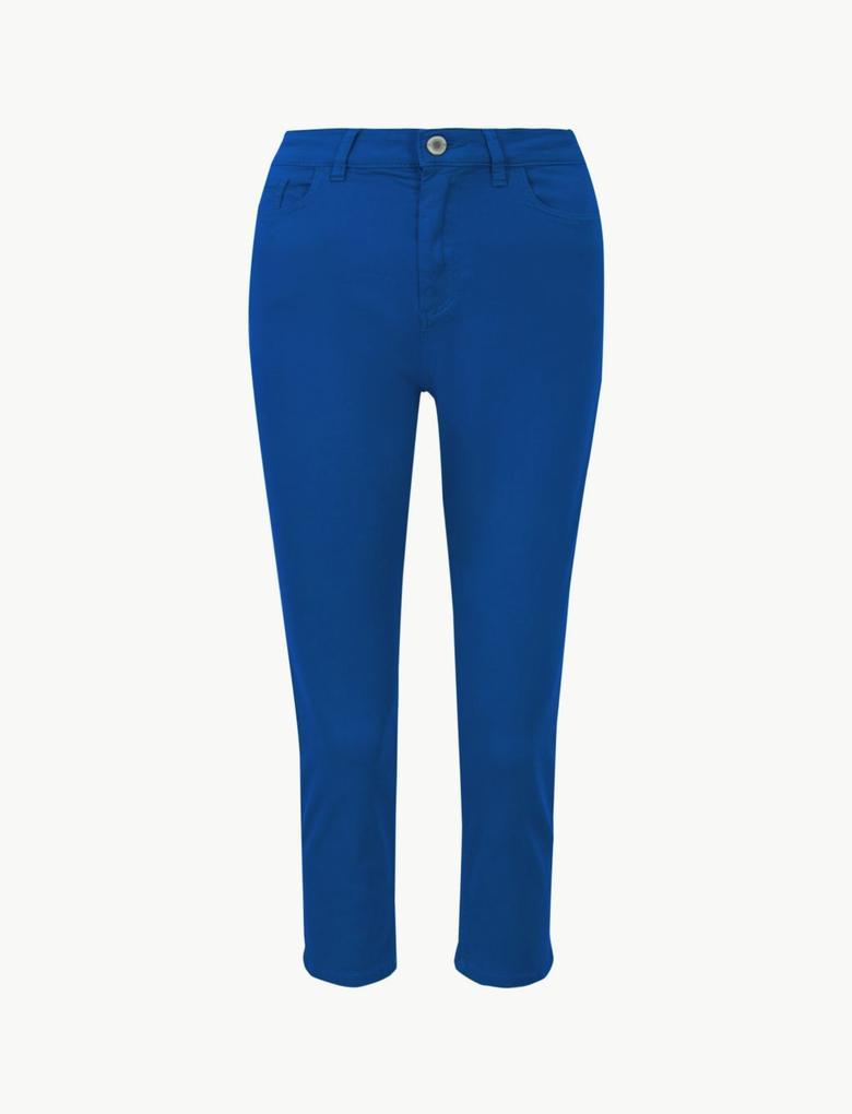 Kadın Lacivert Orta Belli Super Skinny Leg Kısa Jean Pantolon
