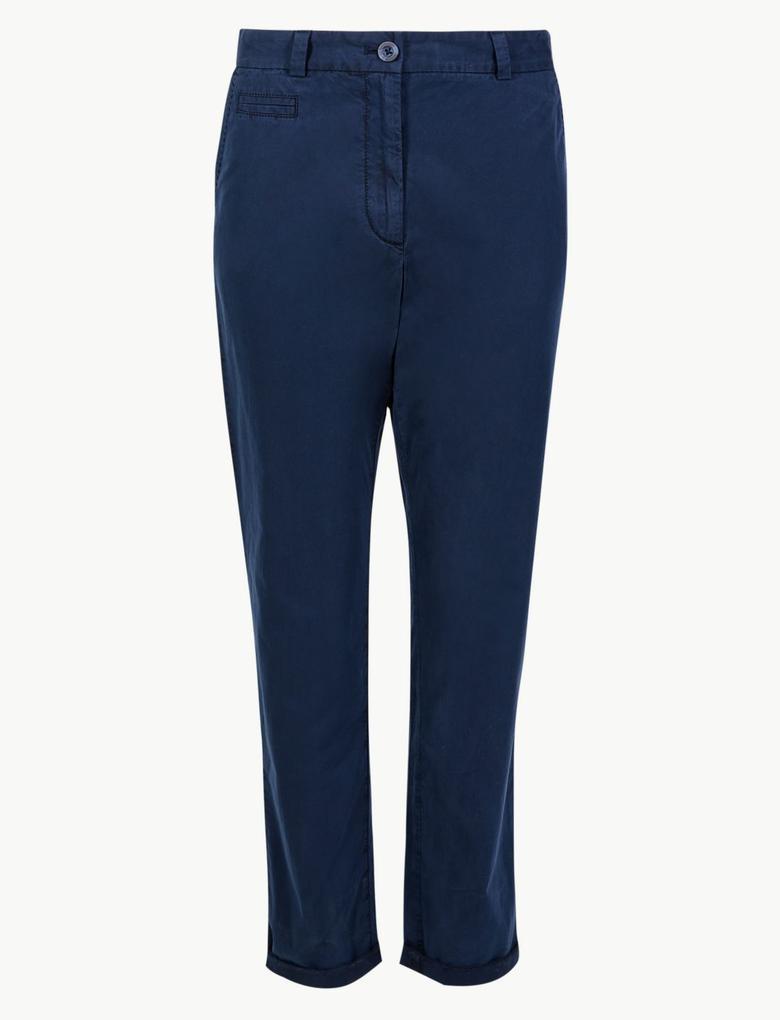 Kadın Lacivert Saf Pamuklu Tapered Leg Chino Pantolon