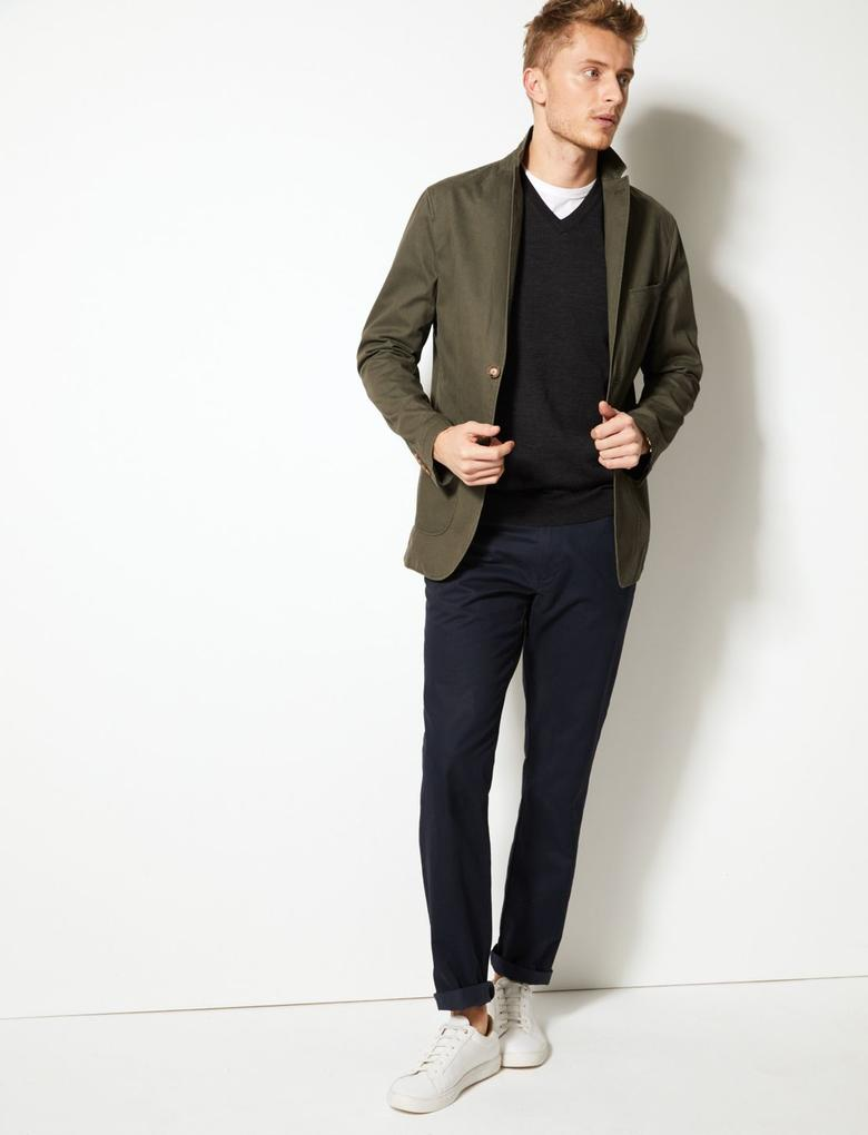 Erkek Yeşil Saf Pamuklu Tailored Fit Ceket