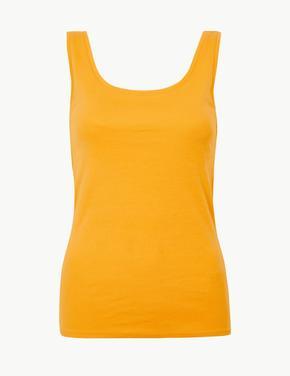 Kadın Sarı Saf Pamuklu Kolsuz Bluz