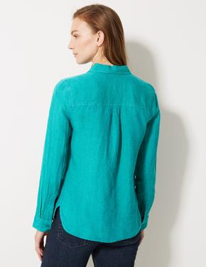 Mavi Saf Keten Uzun Kollu Gömlek