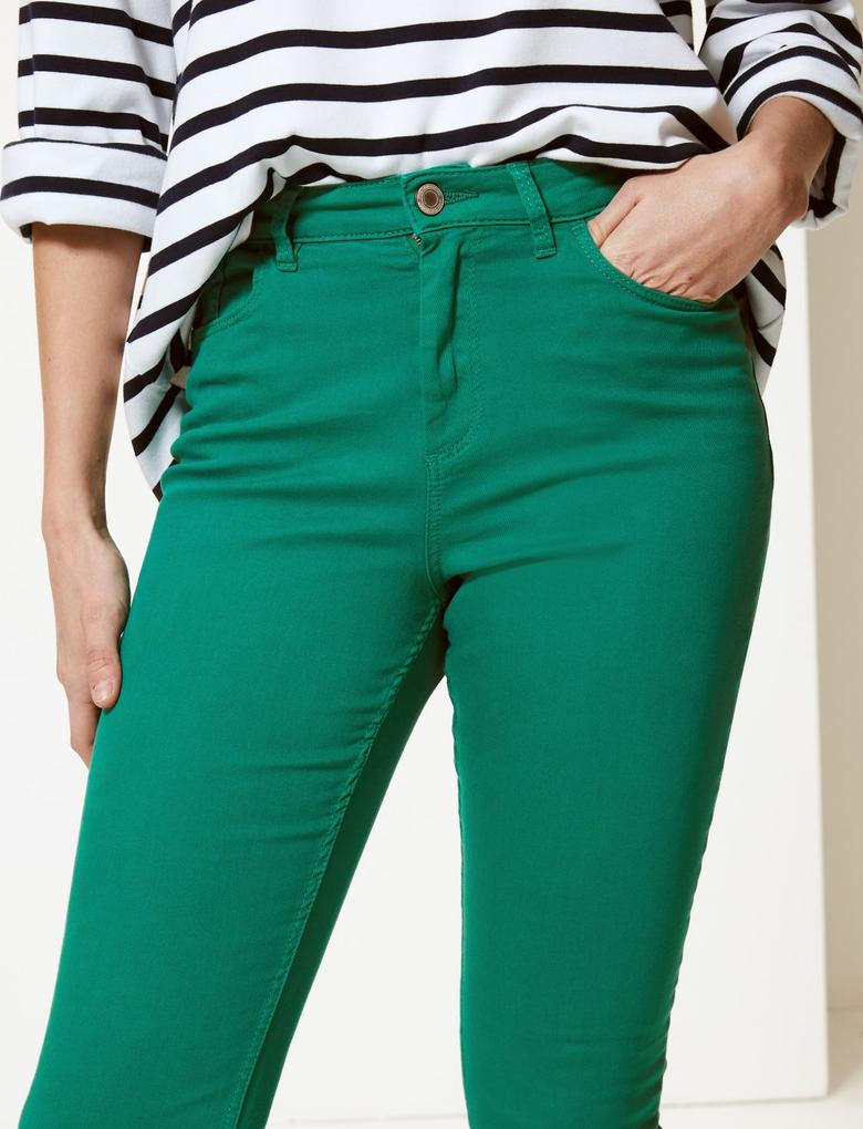 Kadın Yeşil Orta Belli Super Skinny Leg Kısa Jean Pantolon