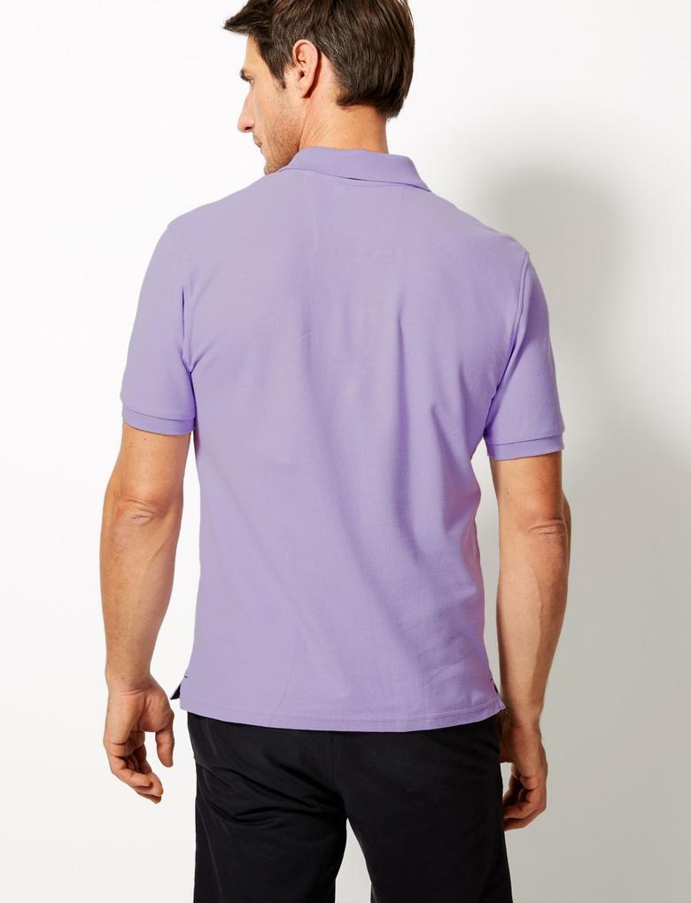 Pembe Saf Pamuklu Polo Yaka T-Shirt