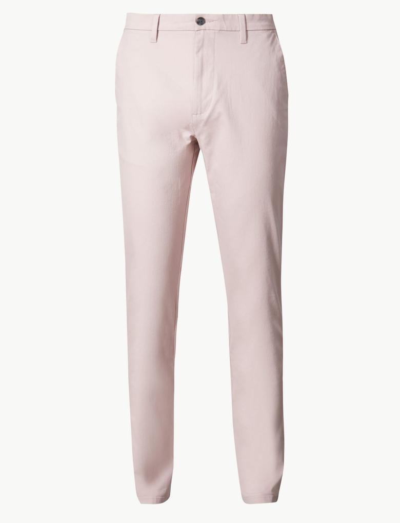 Erkek Pembe Slim Fit Pamuklu Chino Pantolon