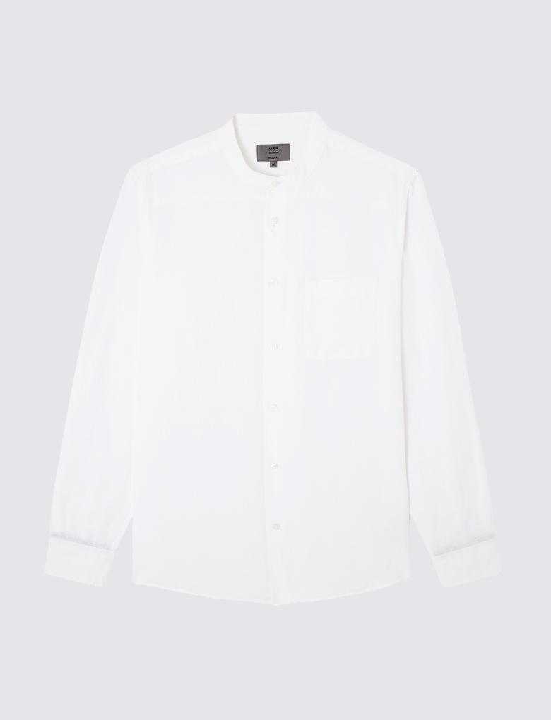 Beyaz Uzun Kollu Keten Gömlek