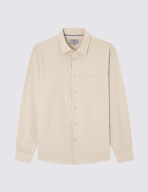 Uzun Kollu Keten Gömlek